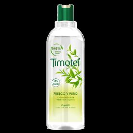 Front of shampoo pack Timotei Champú Fresco y Puro Té Verde 400ml