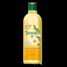 Front of shampoo pack Timotei Champú Reflejos Dorados 400ml