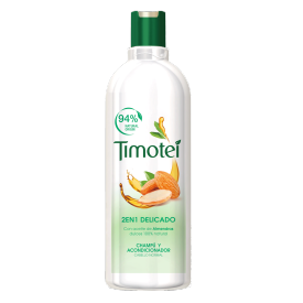Front of shampoo pack Timotei Champú 2 en 1 Delicado Almendras 400ml